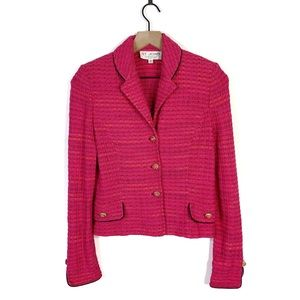 St. John Hot Pink Tweed Boucle Knit Blazer Jacket